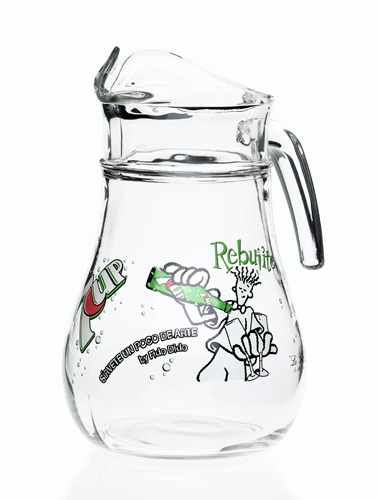 jarra de cristal decorada en serigrafía